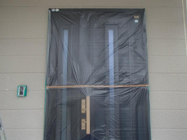玄関養生 外壁塗装
