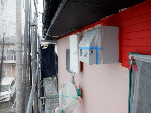 西面 外壁塗装 上塗り塗装
