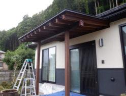 上塗り2回目 木材保護塗料