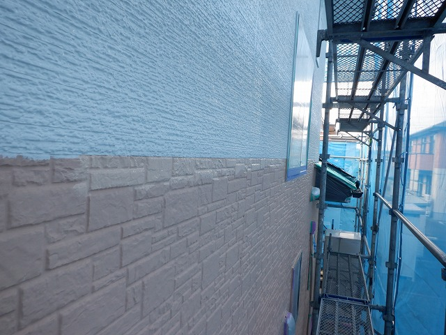 外壁塗装 北面 上塗り2回目